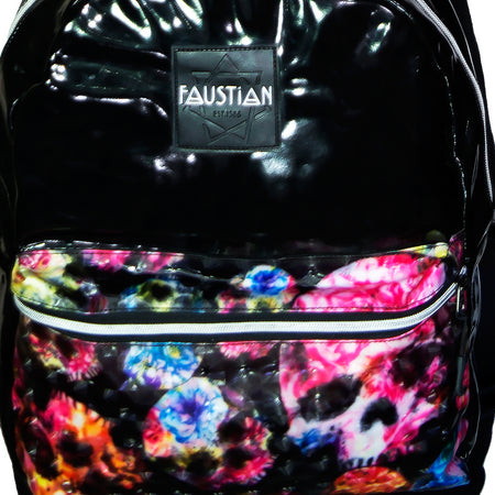 3D Flower Skulls Vegan Leather Black Backpack - Brat - Dr Faust