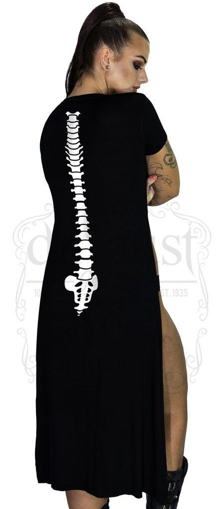White Back Bones High Split Black Maxi Dress - Myah - Dr Faust