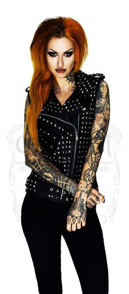 Square Studs Leather Black Biker Vest - Sol - Dr Faust