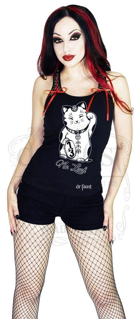 Japanese Out of Luck Cat Women's Black Vest - Erika - Dr Faust