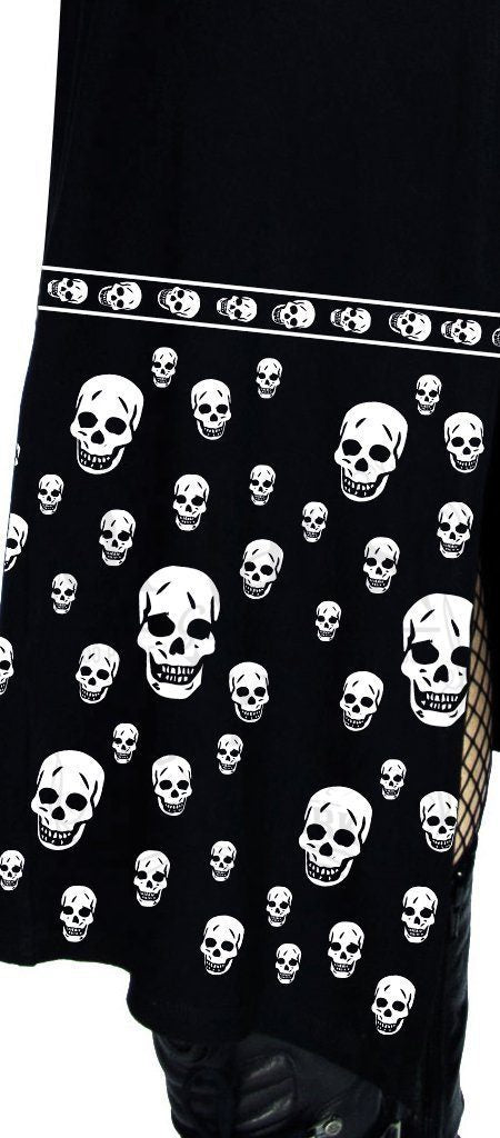 White Skulls Black High Split Dress - Demi - Dr Faust