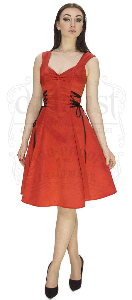 Raw Silk Red Midi Dress - Paige - Dr Faust