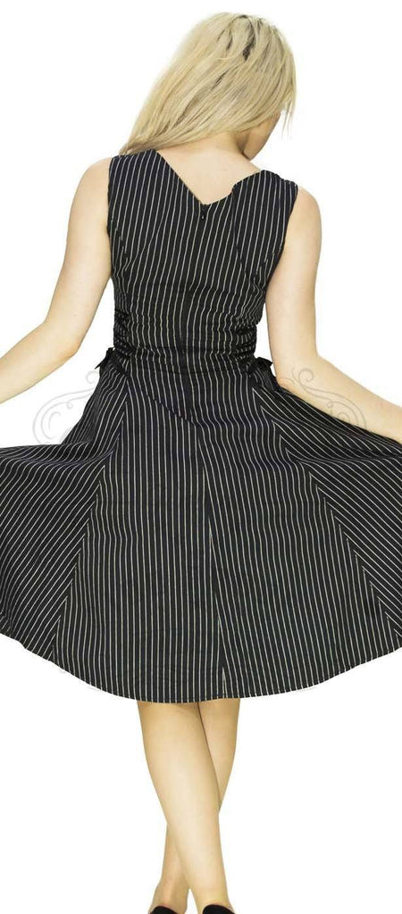 Slimming Pinstripe Black & White Midi Dress - Gianna - Dr Faust