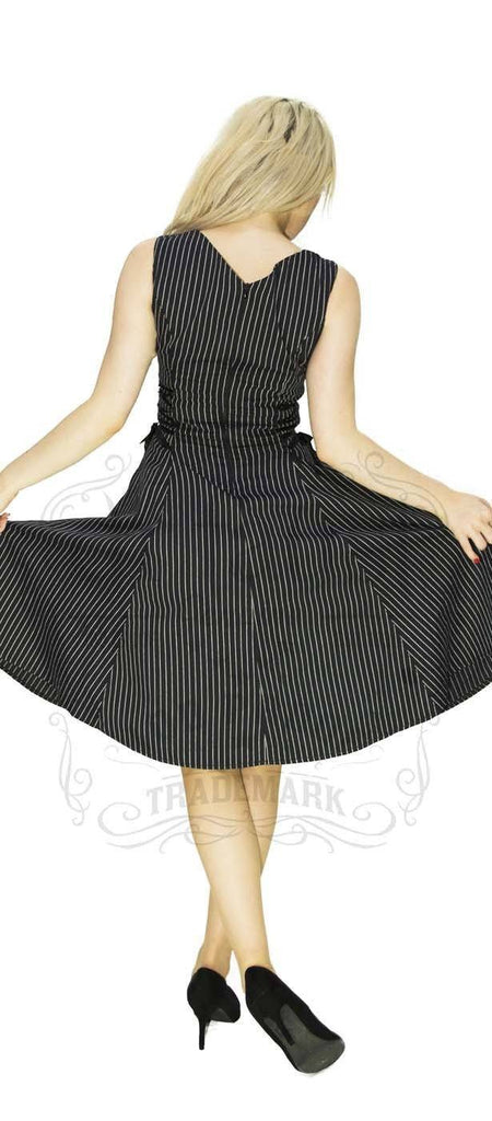 Slimming Pinstripe Black & White Midi Dress - Gianna