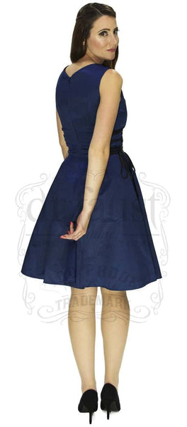 Raw Silk Navy Midi Dress - Molly - Dr Faust