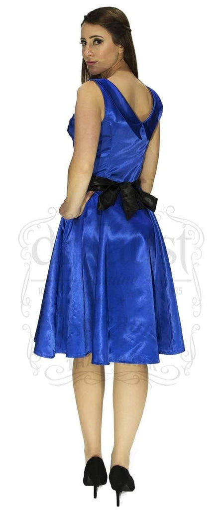 Draped Heart Silk Blue Midi Dress - Rylee - Dr Faust