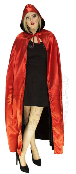 Black Velvet and Red Silk Reversible Hooded Cape - Lola - Dr Faust