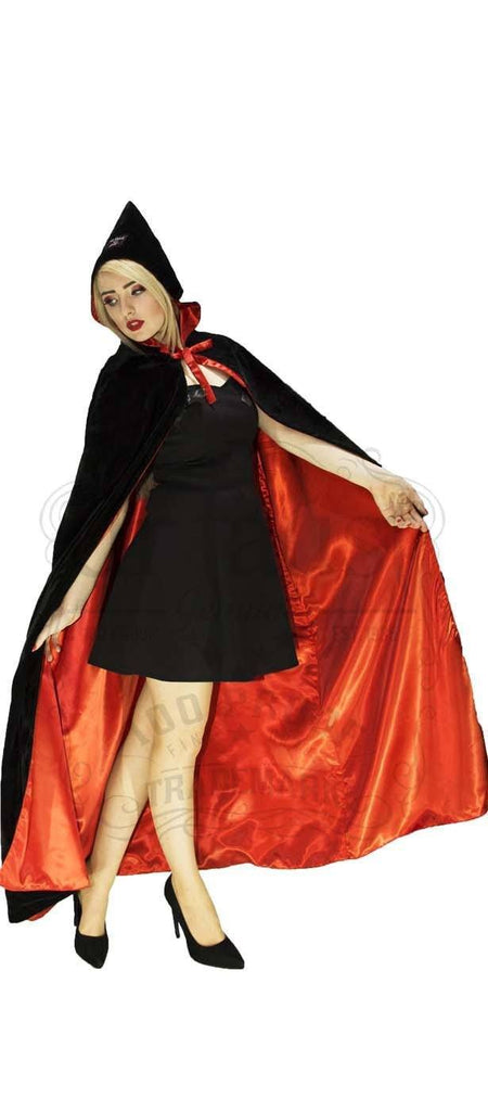 Red Silk and Black Velvet Reversible Pointed Hooded Cape - Juliana - Dr Faust