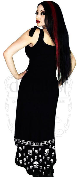 White Skulls Black High-Low Dress - Blair - Dr Faust