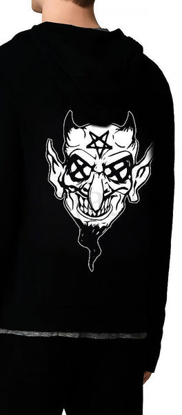 Pentagram Eyes Crazy Devil Men's Black Hoodie - Ryker - Dr Faust