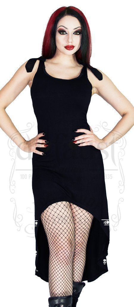 White Skulls Black High-Low Dress - Blair