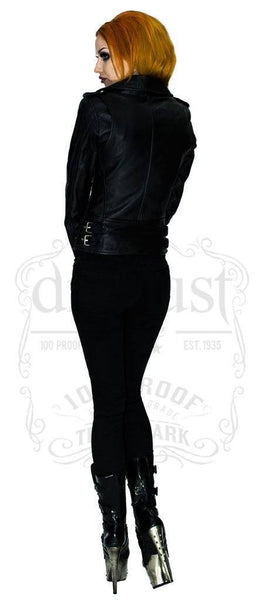 Leather Black Biker Jacket - Vor - Dr Faust