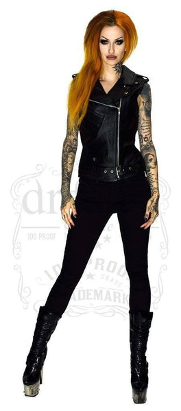Leather Black Biker Vest - Ran - Dr Faust