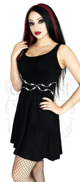 Barbed Wire Black Skater Mini Dress - Priscilla - Dr Faust