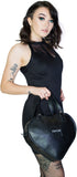 Black Love Heart Vegan Leather Hand Bag - Black Cupid - Dr Faust