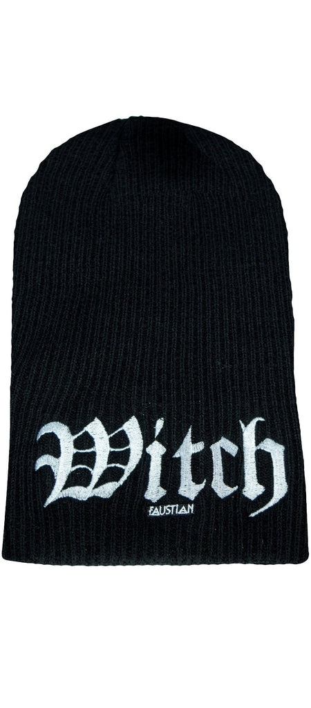 Witch Embroidery Black Beanie - Agnes - Dr Faust