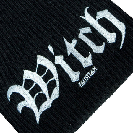 Witch Embroidery Black Beanie - Agnes - Beanie