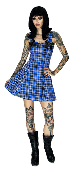 Alternative Blue Tartan Mini Dress - Lily - Dr Faust