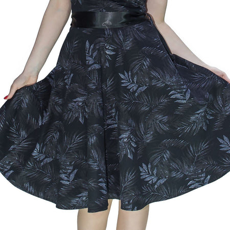 Dark Leaf Black Midi Dress - Annabelle - Dr Faust