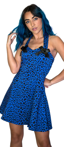 Aqua Leopard Blue Mini Dress - Jessica - Dr Faust