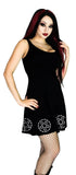 Barbed Wire Pentagram Black Mini Dress - Zahra - Dr Faust