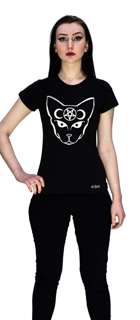Bast Cat Moon and Pentagram T-Shirt - Ciara - Dr Faust