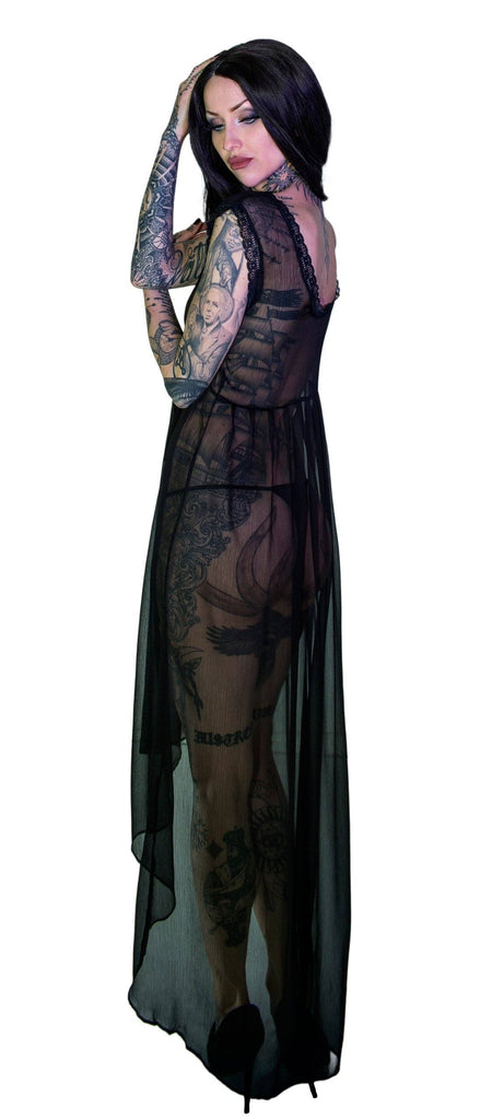Bewitching Black Long Sheer Dress - Lacey - Dr Faust