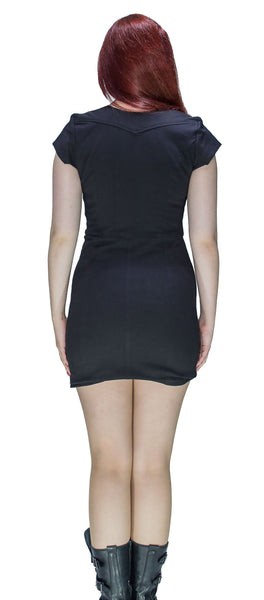 Cotton Lining Black Biker Mini Dress - Abigail - Dr Faust