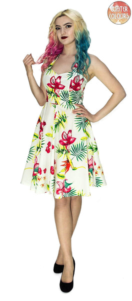 Bird of Paradise Flower White Midi Dress - Maggie - Dr Faust