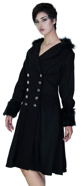 Faux Fur Cuffs Silver Buttons Black Wool Coat - Dominique - Dr Faust