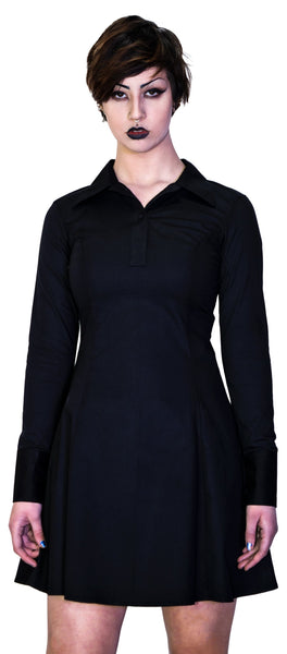 Black Long Sleeve Wednesday Addams Mini Dress - Megan - Dr Faust
