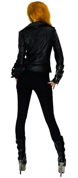 Black Metal Studs Leather Biker Jacket - Idun - Dr Faust