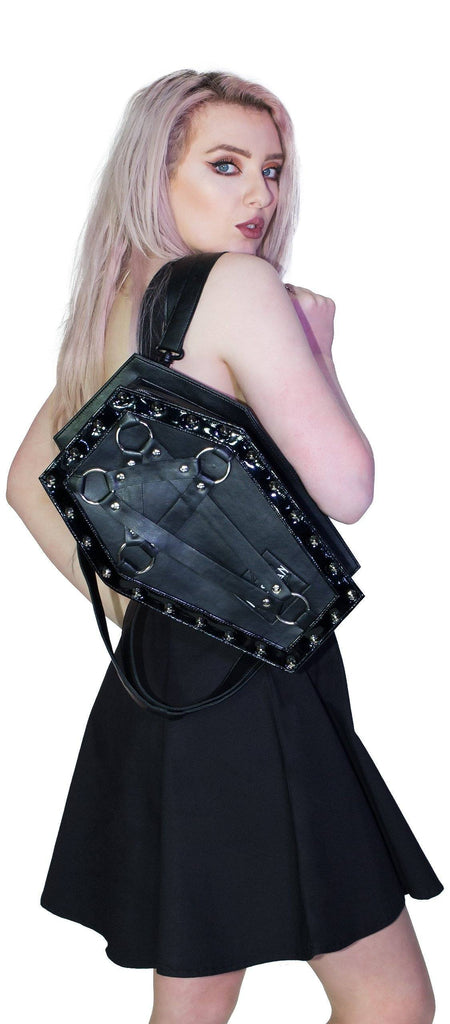 Black Pentagram Vegan Leather Coffin Bag - Primrose - Dr Faust