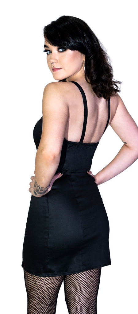 Black Rugged Plastic Clasp Black Mini Dress - Serenity - Dr Faust