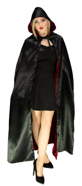 Black Silk and Red Velvet Reversible Hooded Cape - Anaca - Dr Faust