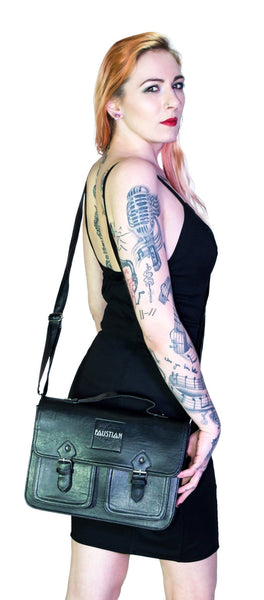 Black Vegan Leather Cross Body Satchel Bag - Harlow - Dr Faust
