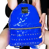 Blue Patent Vegan Leather Backpack - Shining - Dr Faust