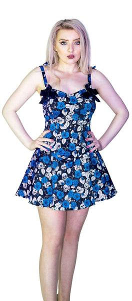 Blue Roses and Skulls Mini Dress - Anika - Dr Faust
