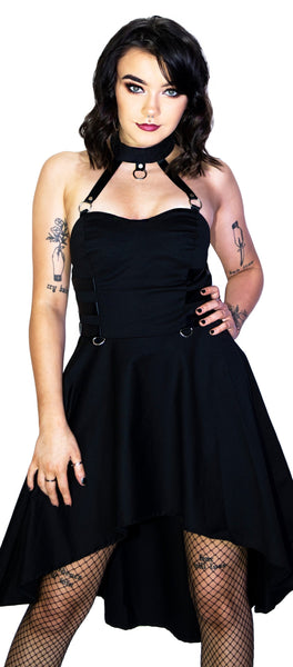 Bondage High Low Black Mini Dress - Ingrid - Dr Faust