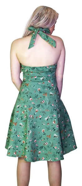 Bronze Flowers Green Midi Dress - Cassandra - Dr Faust