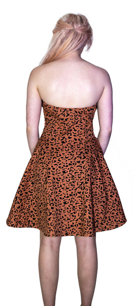 Brown Leopard Animal Print Mini Dress - Robin - Dr Faust