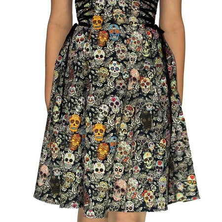 Candy Skulls Midi Dress - Vivian - Dr Faust