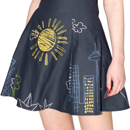 Chalk Board Drawings Flare Mini Dress - Lucia - Dr Faust