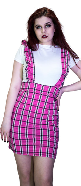 Checked Pinafore Pink Tartan Dress and T-Shirt Set - Landry - Dr Faust