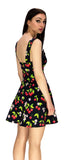 Cherry and Flowers Black Mini Dress - Kaitlyn - Dr Faust