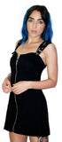 Club Double Strap Black Mini Dress - Kinley - Dr Faust