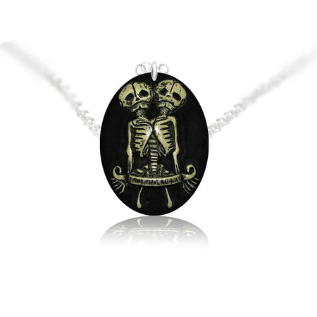 Conjoined Twins Skeleton Pendant and Necklace - Gemini - Dr Faust