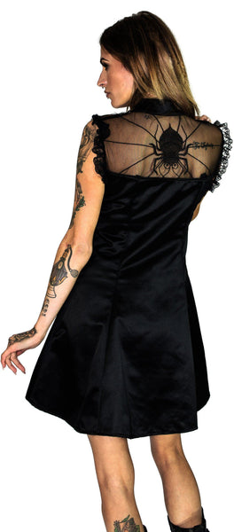 Cute Spider Raw Silk Black Mini Dress - Spinderella - Dr Faust