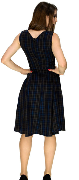 Dark Tartan Woven Midi Dress - Gracie - Dr Faust