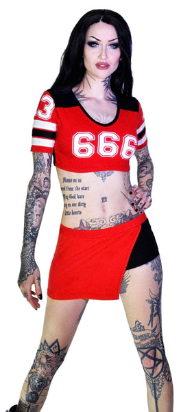 Devil's Team 666 Cheerleader Red Top and Shorts Set - Gretchen - Dr Faust